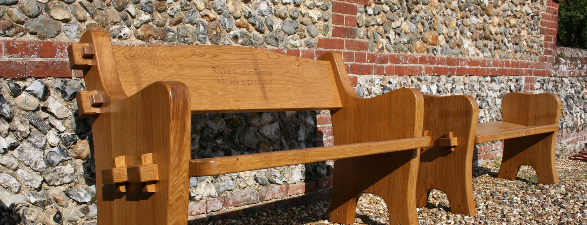 Oak Bench made by hand by Harry Stebbing of Norfolk