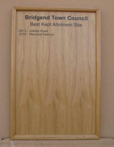 Oak Honours Board- Straight Top + Oak Moulding